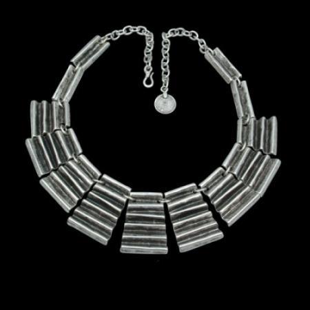 Turkish Antique Silver Pewter Zig Zag Necklace