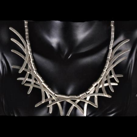Turkish Antique Silver Pewter Half Moon Necklace