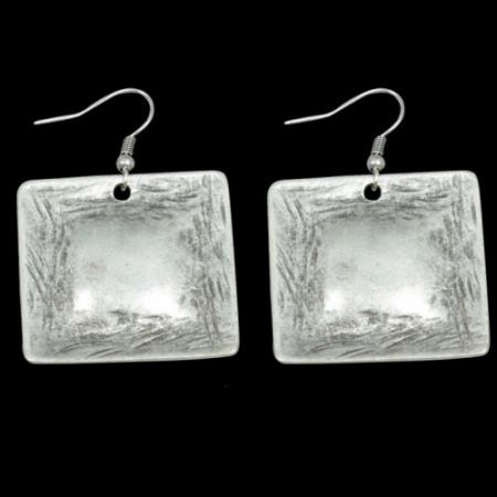 Turkish Antique Silver Pewter Hammered Square Earring