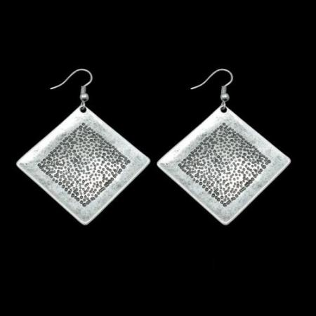 Turkish Antique Silver Pewter Square Spotted Earring