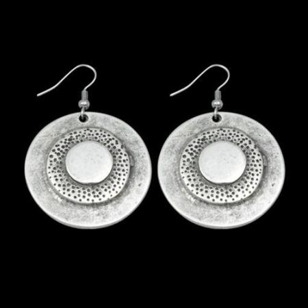 Turkish Antique Silver Pewter Circle Spotted Earring