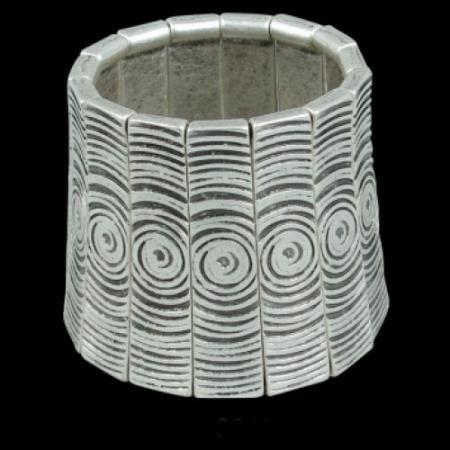 Turkish Antique Silver Pewter Fantasy Bangle Bracelet