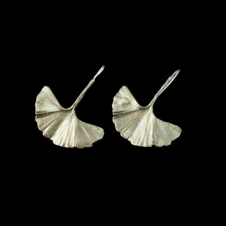Turkish Antique Silver Pewter Ginkgo Leaf Earrings