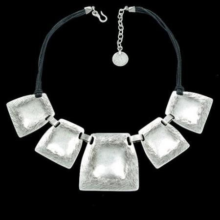 Turkish Antique Silver Pewter Hammered Square Necklace