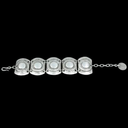 Turkish Antique Silver Pewter Speckled Bracelet