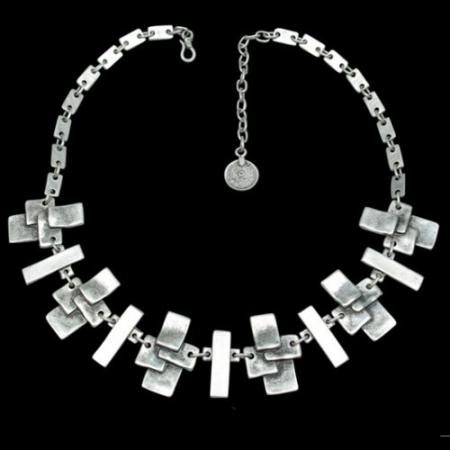 Turkish Antique Silver Pewter Dimensional Necklace