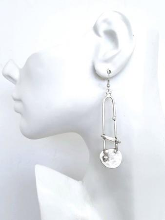Turkish Antique Silver Pewter Silver Abstract Earrings