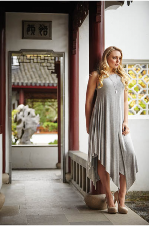 Layered Jersey Maxi Dress Grey