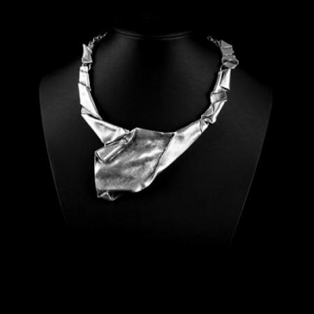 Turkish Antique Silver Pewter Wrinkled Necklace