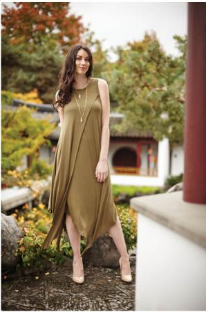 Layered Jersey Maxi Dress Green