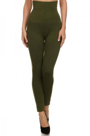 Empire Waist Leggings - Terry Lined - Army Green